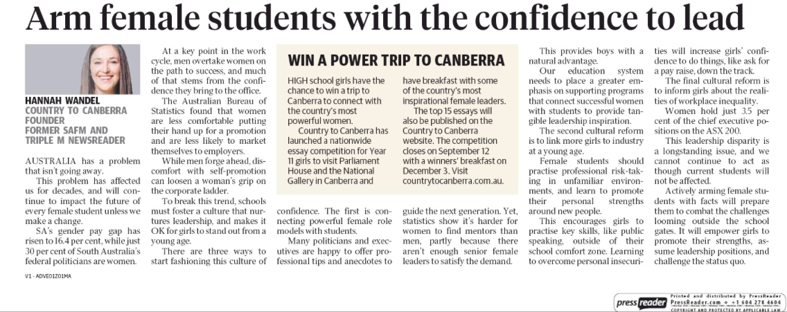 The Advertiser: Arm female students with the confidence to lead