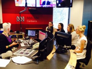 Our winners talking about their essays and the morning's events! — at 666 ABC Canberra.