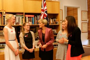 Julie Bishop MP chatting with our rural winners and founder Hannah.