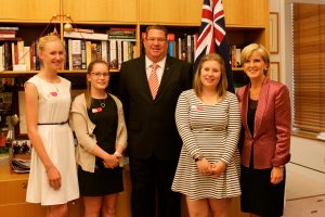 Libby (second from left) was thrilled to meet her local MP, Scott Bucholz, and Foreign Minister JUlie Bishop along with the fellow winners Hannah and Vesna.